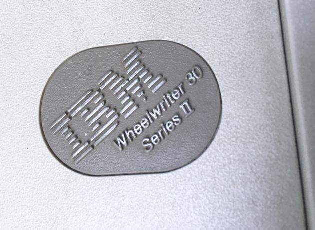 "IBM ""Wheelwriter 30 Series II"" name/logo on the top..."
