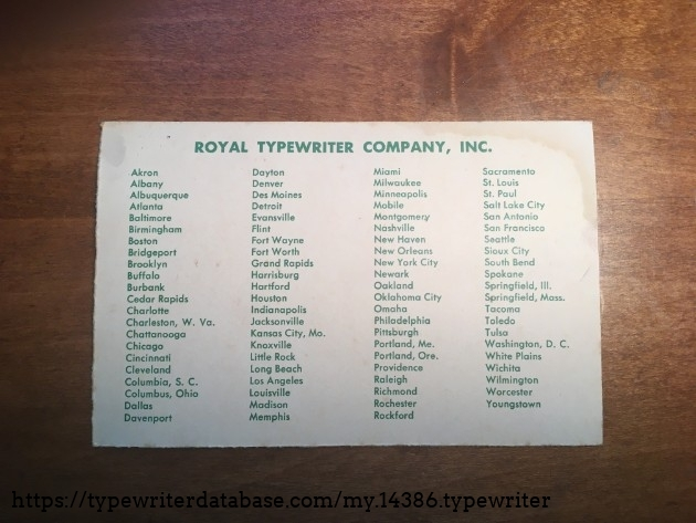 List of all Royal Typewriter shops in 1953 I suppose