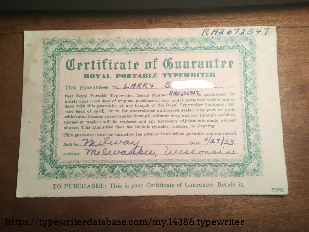 This is the front of the warranty card. It is made out to my grandpa. This Royal seems to have been sold in Milwaukee, WI