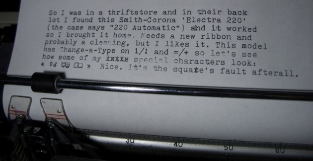 Typing a sample paragraph with a test of the genders, happy/sad faces, and square/rhombus characters. (The square doesn't work right on my CaT manual so this confirms it's the typehead that is making the top and right sides not strike solidly... the rhombus is always fine.)