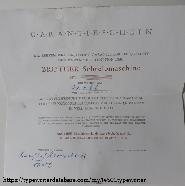 Brother De Luxe warranty card