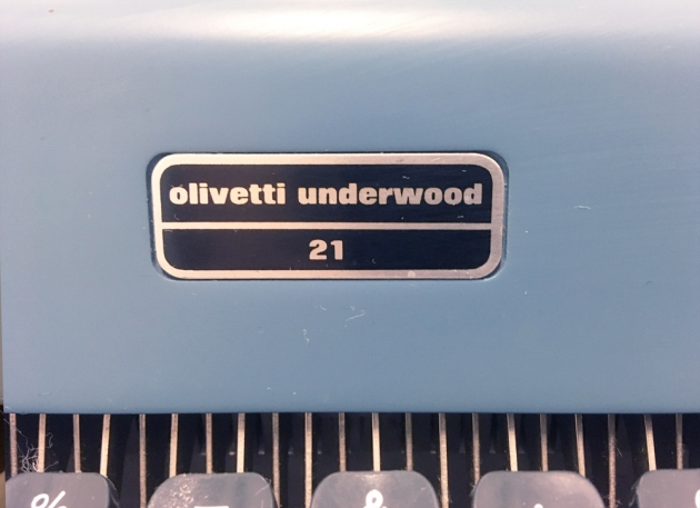"Olivetti-Underwood ""21"" from the logo on the front..."