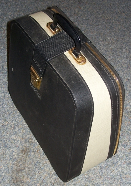 The carrying case, with two flies under the strap. Doesn't have a way to secure the typewriter down inside (and you can't use it inside the case), just foam pads on the latch side of the case for under the machine and a pad at the back of the typwriter (which the machine would rest on when carried/sitting). Do not have the key for the latch.
