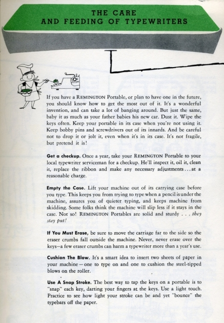 """""""The Care And Feeding Of Typewriters"""", a page found in both the How To Type book and the owner's manual."""