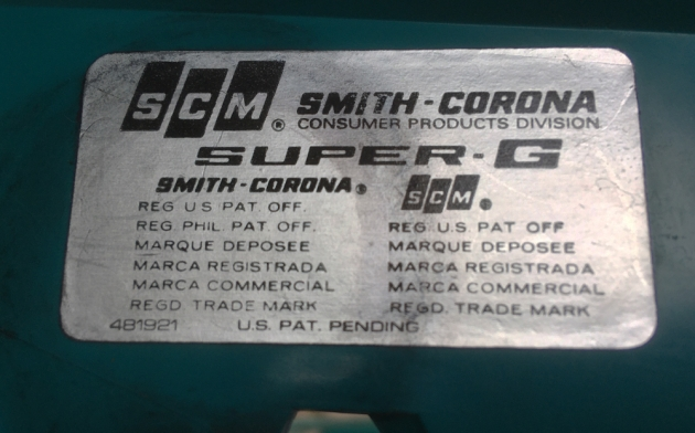"""Smith Corona """"Super G"""" from the sticker under the ribbon cover..."""