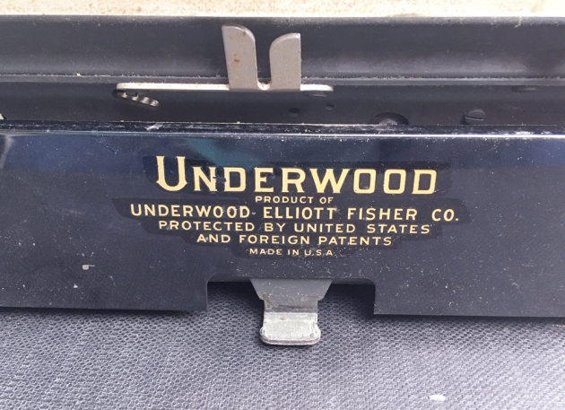 "Underwood ""Portable 4 Bank""  from the back (detail)..."