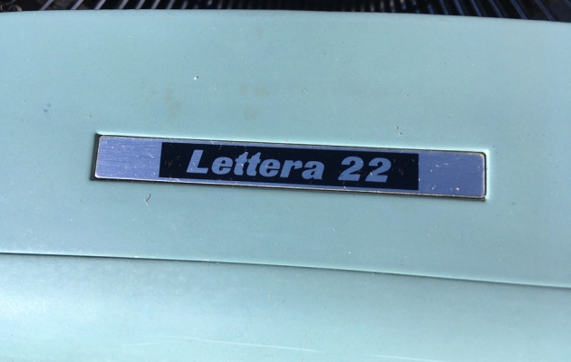 "Olivetti ""Lettera 22""  from the model logo on the front..."