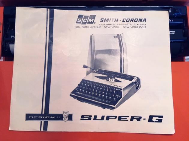 "Smith Corona ""Super G"" included manual..."