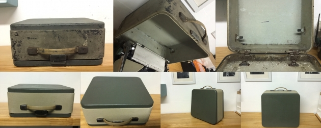 Before and after restoration shots of the SM7 carry case