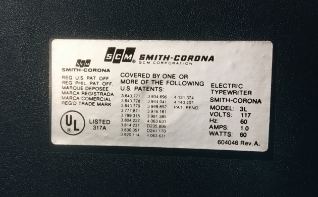 """Smith Corona """"Sterling Cartridge""""  from the model sticker on the back..."""