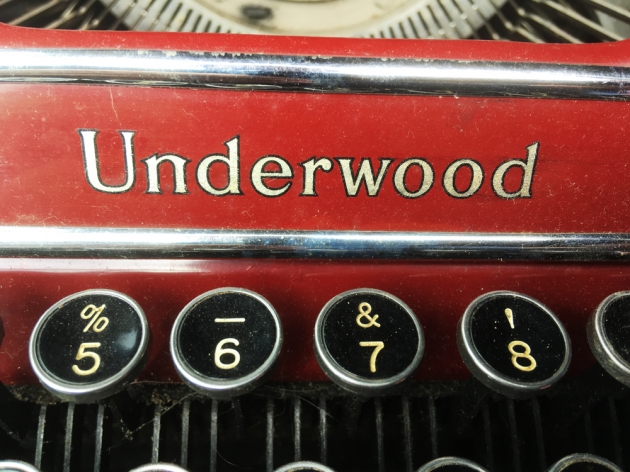 """Underwood """"Champion""""  from the front (detail of maker logo)..."""