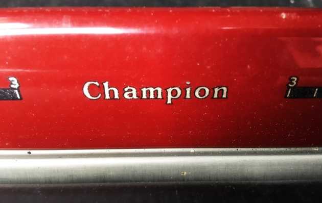 """Underwood """"Champion""""  from the front (detail of model logo)..."""