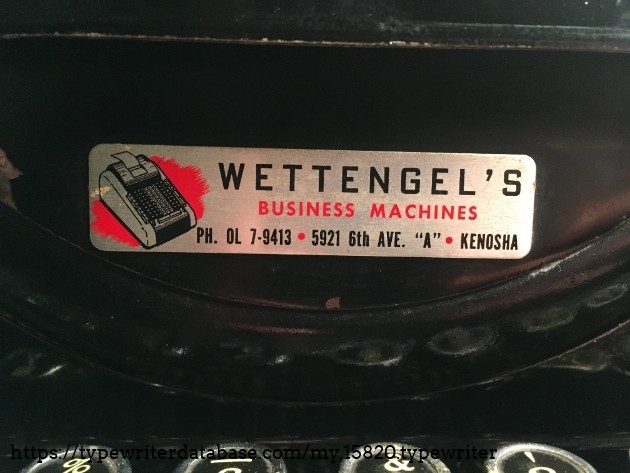 Here is the Dealer Tag. This is the second Wettengel's machine that I own, and the third one that I know of.  The first machine that I own that has this tag is my 1946 Woodstock. One of my friends also has an Aztek 300 that has the same tag on the back.