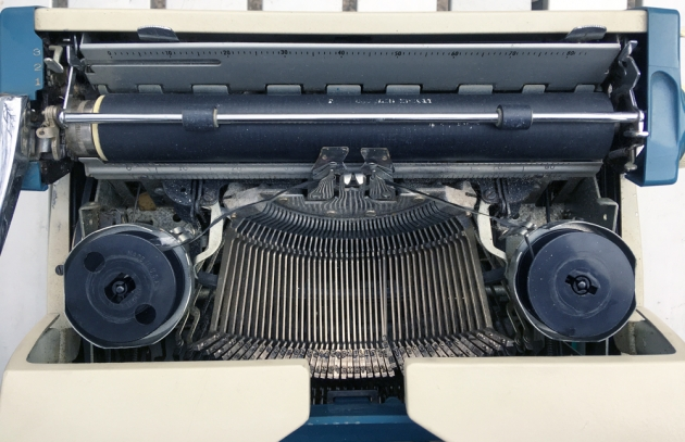 """Smith Corona """"Corona Seventy""""  from under the hood..."""