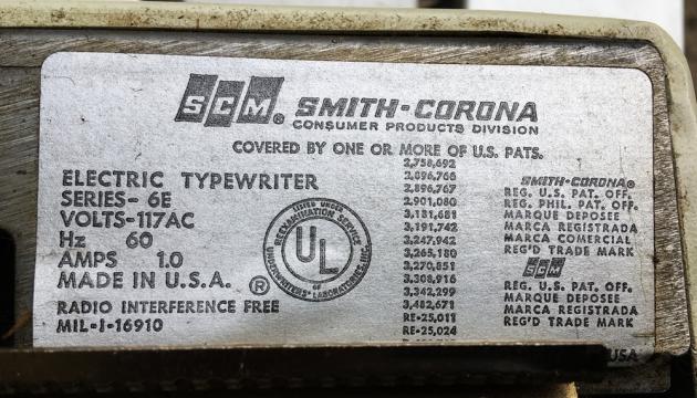 """Smith Corona """"Corona Seventy""""  from the sticker under the platen..."""