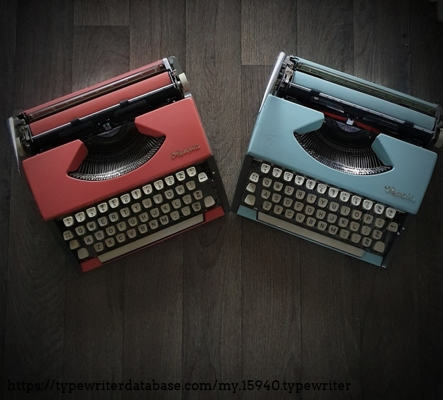 Pink and Blue typewriters together.