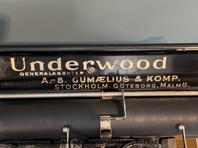 Non-original Underwood decal swapped out on time of sale for one made by the retail center 'A. -B. Gumælius & Komp'.