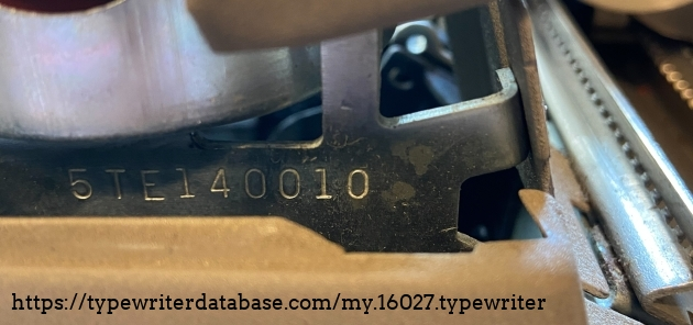 Serial number, which is under the right hand ribbon spool.