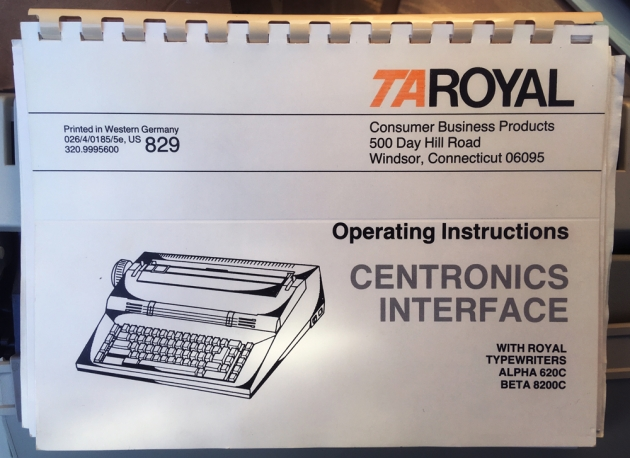 "Royal ""Alpha 620C""  one of the two manuals that came with this typewriter..."