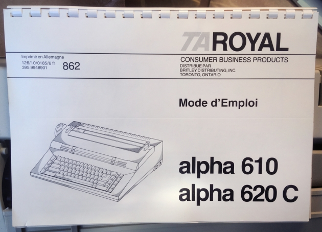 "Royal ""Alpha 620C""  the other one of the two manuals that came with this typewriter..."