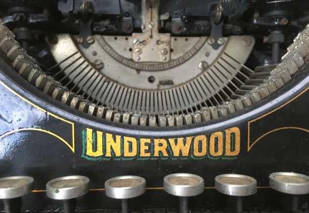 """Underwood """"5"""" from the maker logo on the front..."""