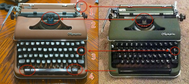 Some differences between an SM3 and an SM4: (1) addition of tab-clear lever; (2) different ribbon holder/vibrator configuration; (3) full-thickness tab key (SM4); (4) tab set control adjacent to spacebar (SM4) vs. a fixed number of discrete tab settings on rear (SM3).