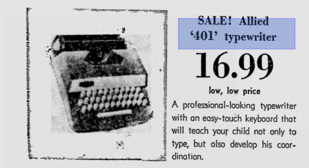Here is an advertisement that I found for this typewriter. This came from a newspaper dated December 14, 1966. This is how I determined the date of manufacture.