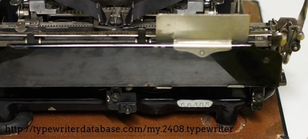 the s/n behind the typewriter