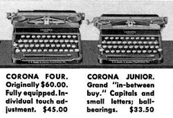 Detail from a Dec, 1934 ad showing the Four Improved and Junior.