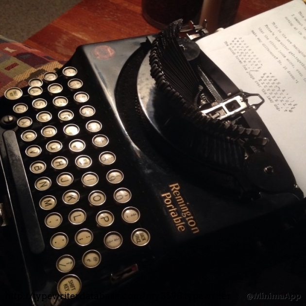 The typewriter with the typebars engaged.