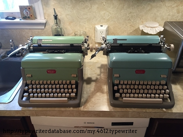 My green FPP next to my mom's blue FPE.