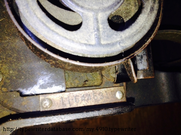 Serial number next to right ribbon spool