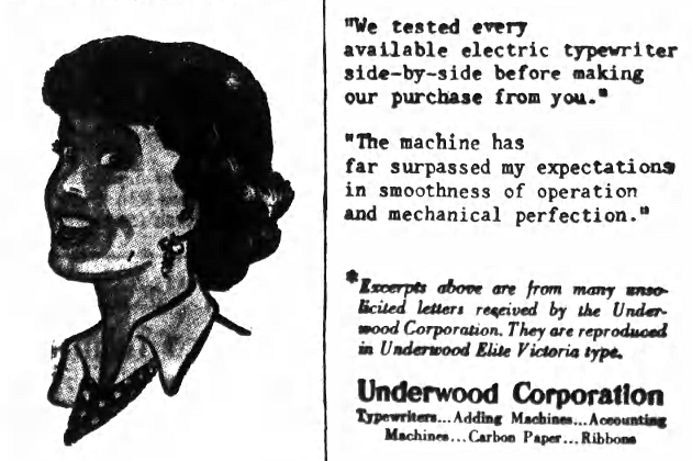 Montage from an add for the Underwood All Electric Typewriter, as found in the Nassau Daily Review-Star of Monday November 5, 1951. This identifies the typeface as Underwood Elite Victoria beyond reasonable doubt