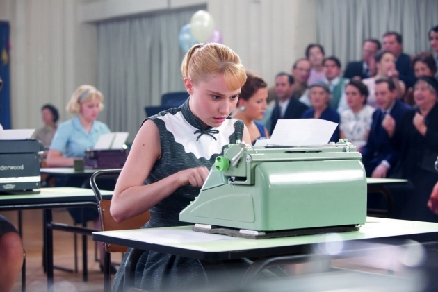 """Film still from """"Populaire"""" (2012), a French production about a """"terrible secretary but demon typist"""" (imdb.com). Picture taken from the ozTypewriter blog"""