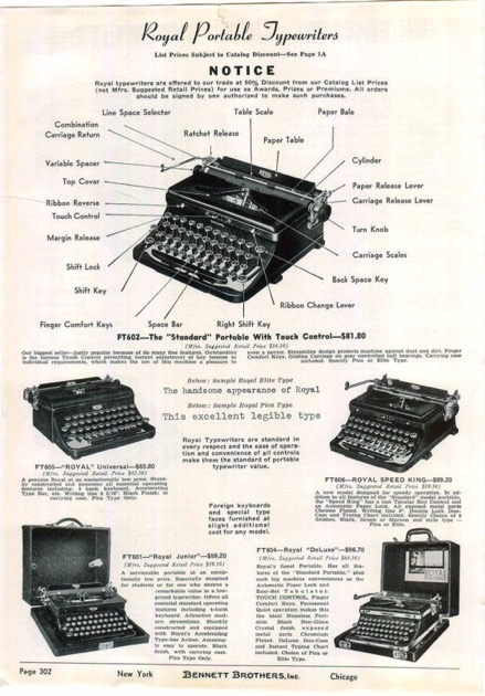 The full ad, listing all Royal Portables available in 1939.