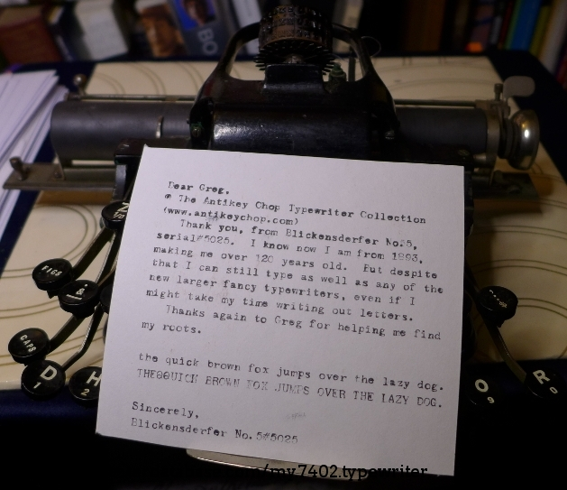Letter written on typewriter thanking Greg at www.antikeychop.com for his help in double checking the date.