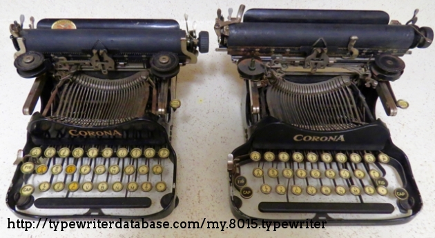 A comparison of this 1920 machine with the later 1922 machine with the right side shift keys added.