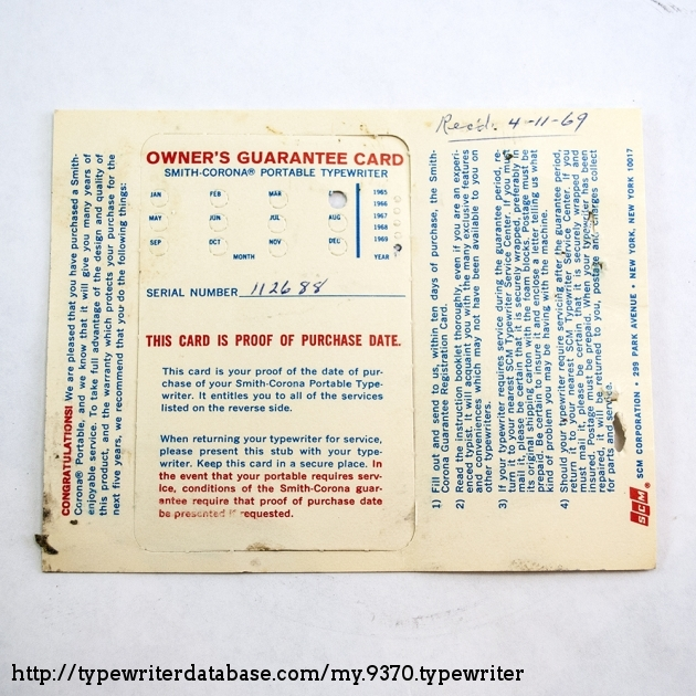 Guarantee showing a received date of 4/11/1969