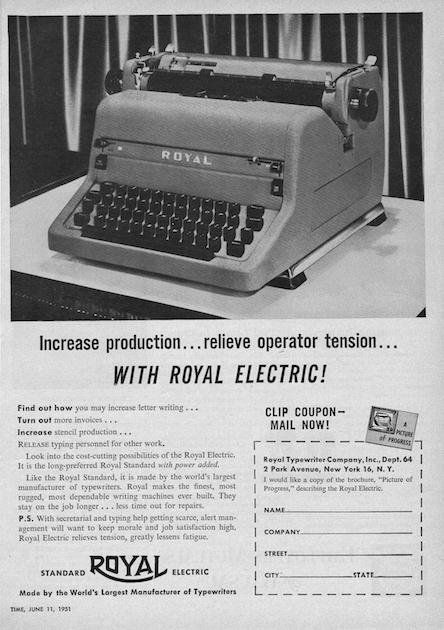 The ad I found for the RP series Royal Electric - this ad, or slight variations of it, is the only ad I have yet found for this machine. TIME appears to have been their preferred publishing location.