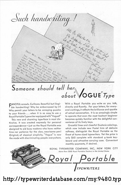 Advertisement for Vogue type.