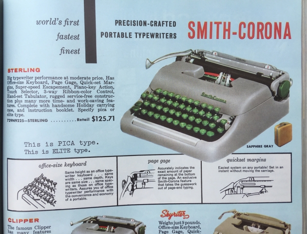 "Smith Corona ""Sterling"" page from Bennett catalog."