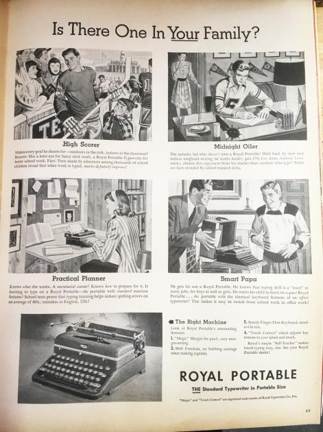 Ad from Life magazine for this era typewriter...