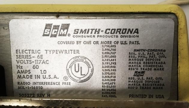"Smith Corona ""Coronet Electric 12"" patent info..."