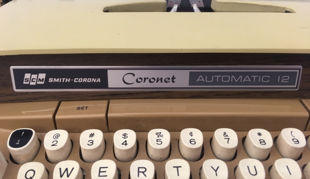 """Smith Corona """"Coronet Electric 12"""" from the front logo..."""
