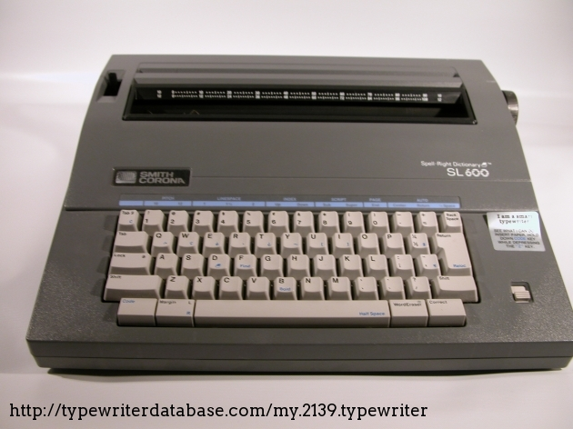 1980  Smith Corona Sl 600 On The Typewriter Database